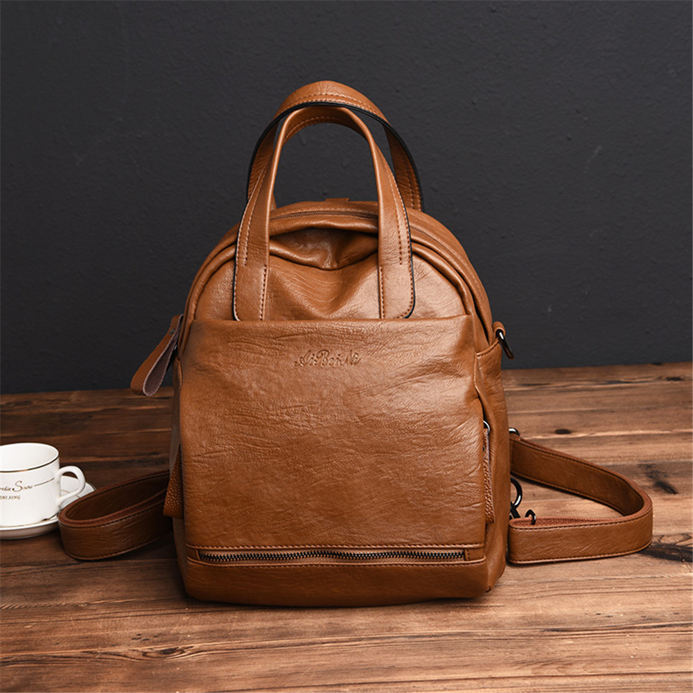 3-In-1 Design Female Backpack Youth Leather Backpacks For Teenage Girls Female School Shoulder Bag Bagpack