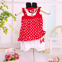2016 Baby Girls Clothes Polka Dot 3 pcs Clothing Set for New Born Baby 1 Year Old Kids Clothing Set Red Pink Outfit Boutique Set