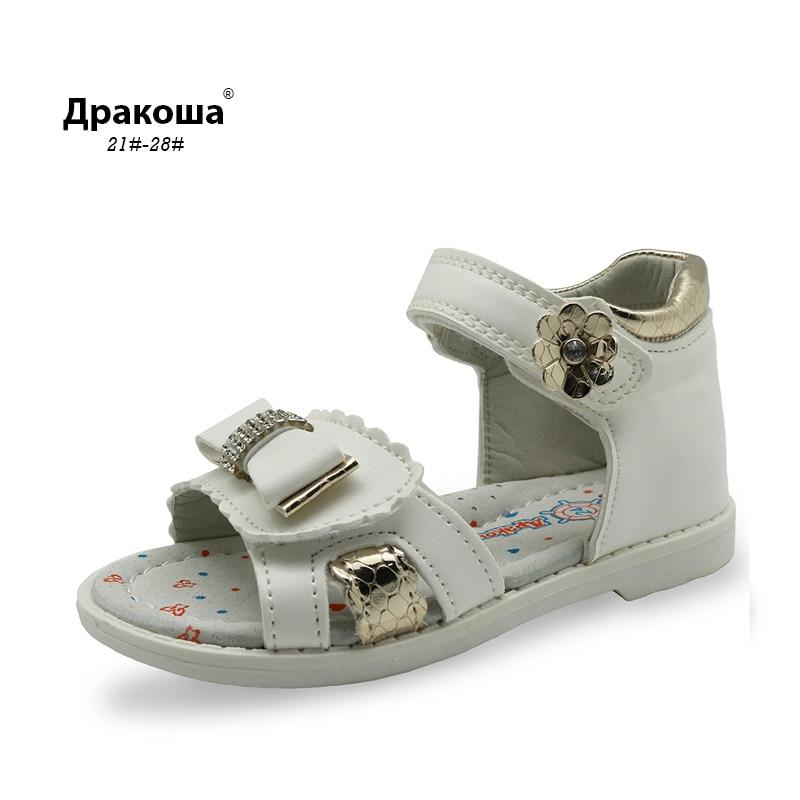 Apakowa Kids Summer Orthopedic Shoes Bow Girls Sandals Summer Bright Glitter Kids Toddler Sandals with Rhinestone Decoration