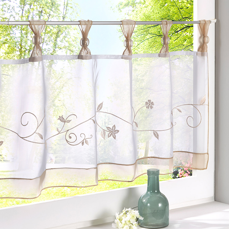 Urijk 1pc Fashion Cafe Embroidered Curtains For The Kitchen Tulle For The Kitchen Cabinet Window Valance