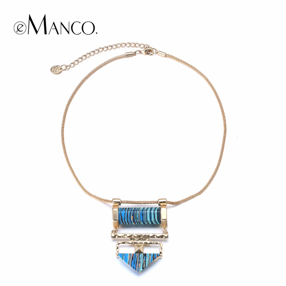 eManco Trending Vintage Geometric Choker Chain Necklaces & Pendants Women Turquoise Natural Stones Blue Accessories Jewelry
