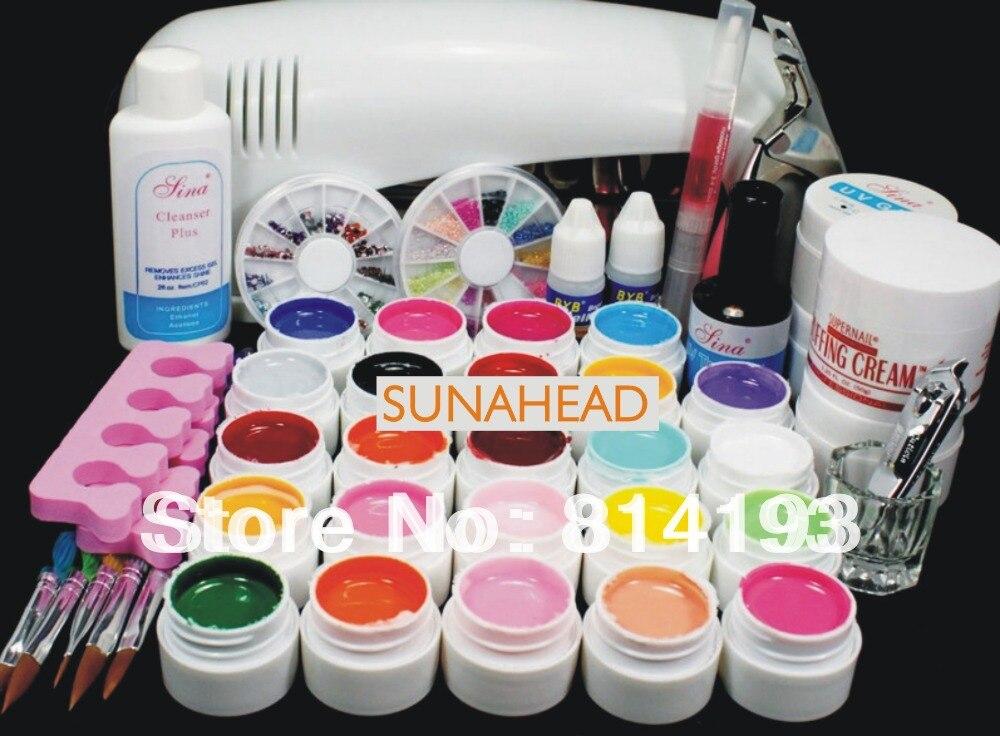 Бесплатная доставка Pro полный 9 Вт УФ лампы 24 цвет чистый UV Gel Nail Art КИТ гель набор