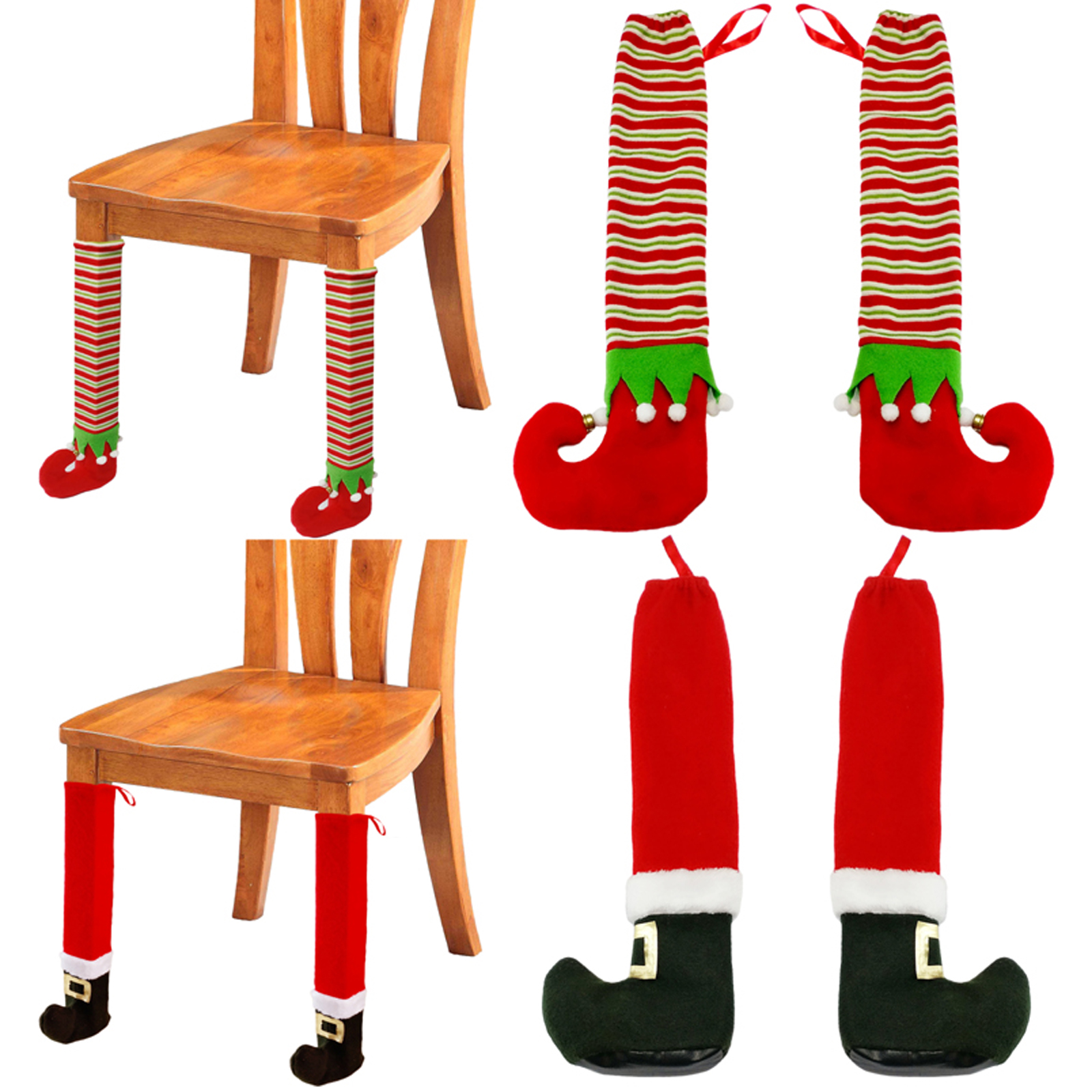 Fun Christmas Table Decorations: 1pcs Christmas Elf Foot Cover Table Leg Chair Xmas Party