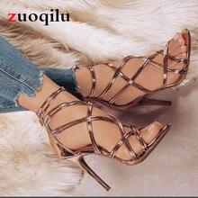 34-43 Big size Ankle Strap Peep Toe Gold High Heels Women Shoes Sexy Lady Praty Shoes Women Pumps 11 CM Women Heeled Sandals
