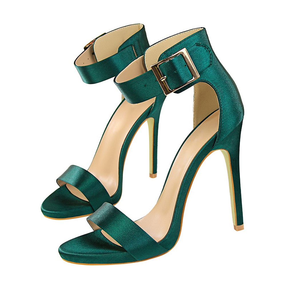 2020 Plus Size 34-43 <font><b>Women</b></font> Classic Satin 11cm <font><b>High</b></font> <font><b>Heels</b></font> Fetish Silk <font><b>Sandals</b></font> Gladiator Summer Shoes Lady Green <font><b>Sexy</b></font> Purple <font><b>Pumps</b></font> image