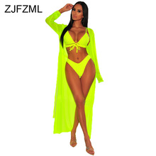 Neon Green Pink Sexy 3 Piece Matching Sets Women Spaghetti Strap Bra Top And Beach Shorts  Long Cardigan Summer Club Outfits