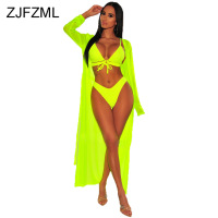 Neon Green Pink Sexy 3 Piece Matching Sets Women Spaghetti Strap Bra Top And Beach Shorts And Long Cardigan Summer Club Outfits