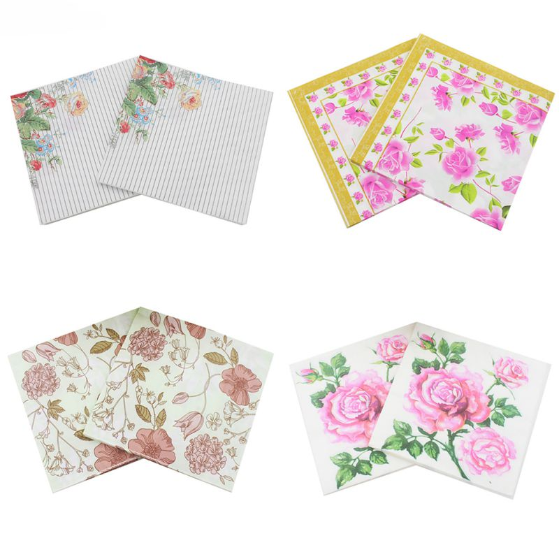 Vintage Flower Paper Napkins Rose Festival Party Tissue Floral Decoration For Weeding Di ...