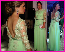 2014 New Fashion Green Lace Floor Length Long Sleeve V Back Chiffon Evening Dress Formal Prom Gowns E5688