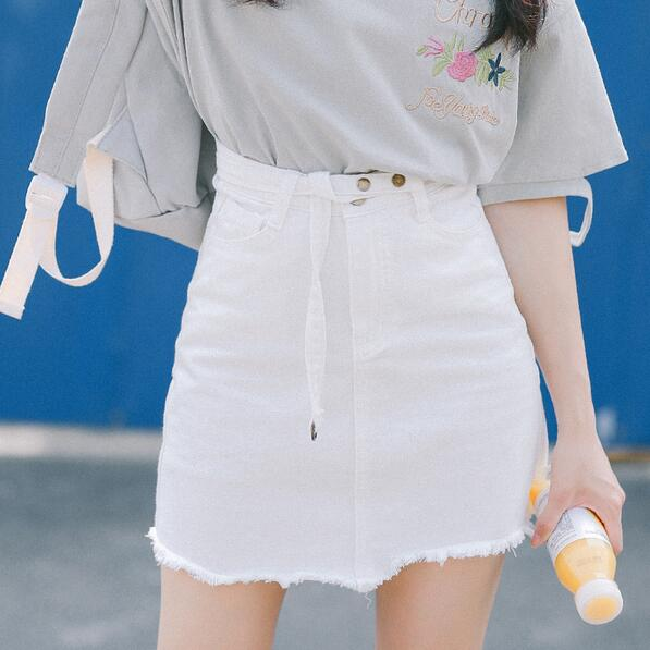 Falda Mujer Corta Palabra Irregular Verano Df811 Una Nuevo Faldas Vaquero Dobladillo Sólido Cadera Paquete 0105 SnRBt5xw
