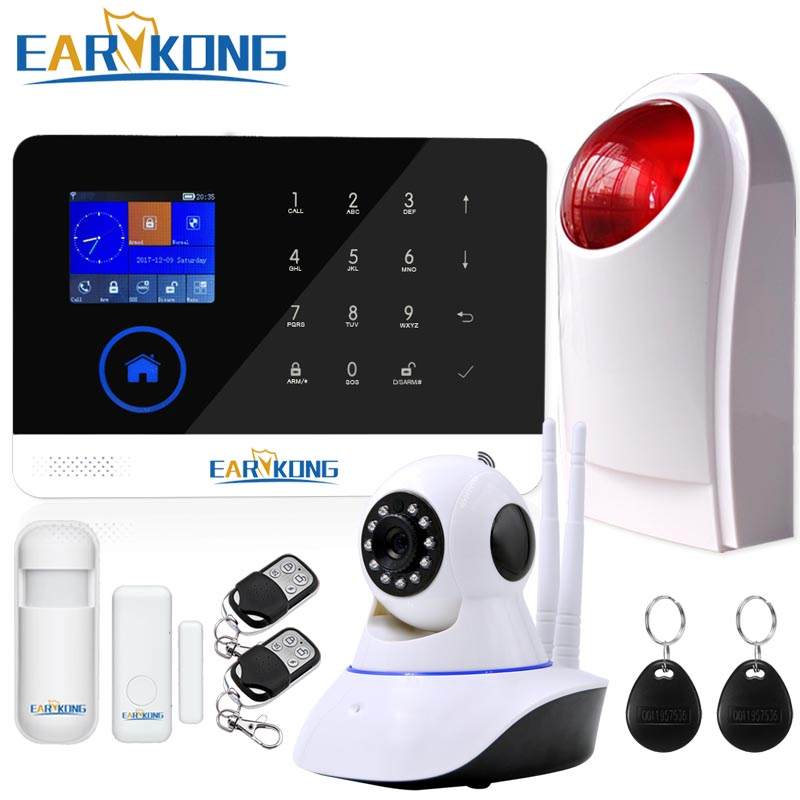 WIFI GSM  Home Burglar Alarm System GPRS RFID TFT Screen Touch Keyboard English Russian Spanish German Polish  Android IOS APP 2017 advanced tcp ip burglar gsm alarm system security home alarm system gprs alarm system with rfid tag function