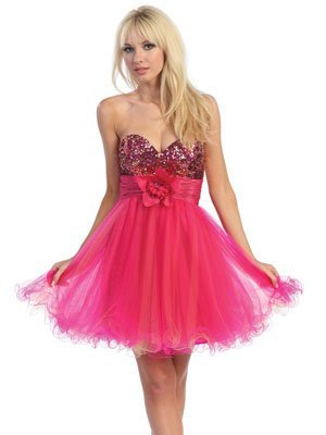 Two tone Beaded Heart Neckline Tulle  Cocktail Prom Dresses Holiday Dresses Holiday & Christmas dresses