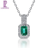 Lohaspie Solid 18K White Gold 0 70ct Natural Emerald Single Cut SI1 Diamonds Pendant Necklace For