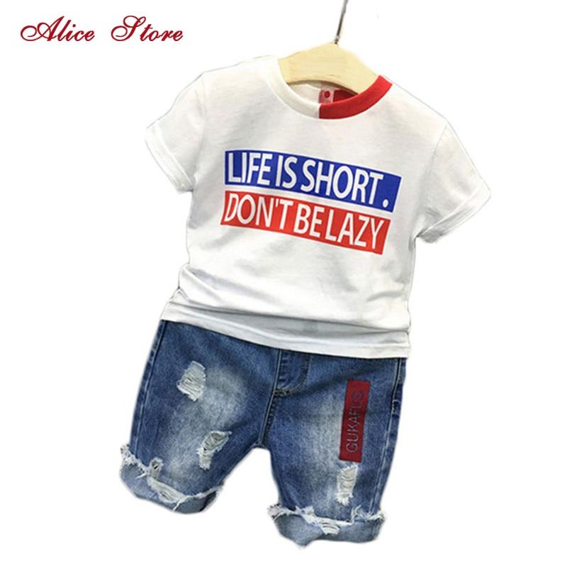 2018 Boys Clothes Suit Children's Clothing T-shirt + Jeans 2 Pieces Fashion Letter Short Sleeves Shirt Tops Hole Denim Pants Set