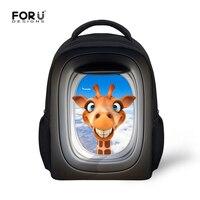 תיקי בית הספר פעוט 12 Inch FORUDESIGNS Bookbags תרמילי הדפסת 3D בעלי החיים ג 'ירפה חמודה לתינוק ילדים גן ילדים