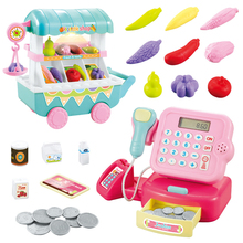 Supermarket Trolley Toy Set Educational Gift Pretend Play Cash Register With Music Mini Smooth Simulation Funny Plastic Kids multi function simulation supermarket cash register girls canteen cash register children s family toys set