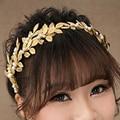 Hot European Gold Metal Leaf Hairband Pearl Hair Hoop Leaves Wedding Baroque Headband For Women Hair Jewelry Accessories