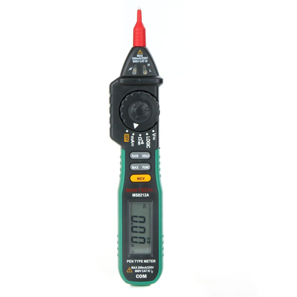 цены MASTECH MS8212A Pen Type Digital Multimeter Multimetro DC AC Voltage Current Tester Diode Continuity Logic Non-contact Voltage