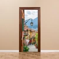 Self adhesive 3D Lake Como Town Streen of Italy Door StickerRefurbished PVC Sticker Decoration Home Decor 200x38.5cm 2pcs/set