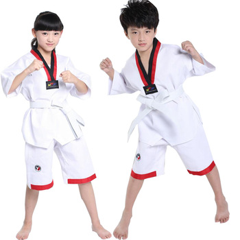 Blanco manga larga niños Judo Kimono ropa niños Karate competición trajes de actuación niños niñas Taekwondo trajes