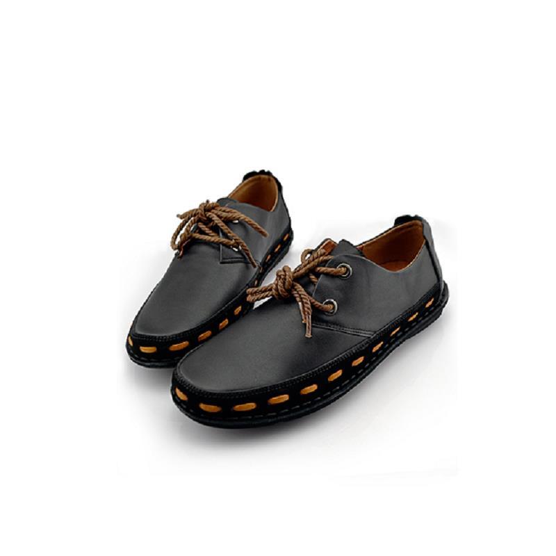 Pria Casual Llegadas Las Hombres Negro Sepatu De Genuino 100 marrón up Lace Zapatos Punta Casuales Redonda Nuevos Mycoron Personalidad Cuero wT1Zgw