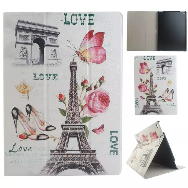 New Eiffel Tower for iPad Pro 12.9 Cover Ultra Slim Flip Folio PU Leather Stand Cover Case for Coque Funda iPad Pro 12.9 inch new fashion pattern ultra slim lightweight luxury folio stand leather case cover for huawei mediapad t2 pro 10 0 fdr a01w a03l