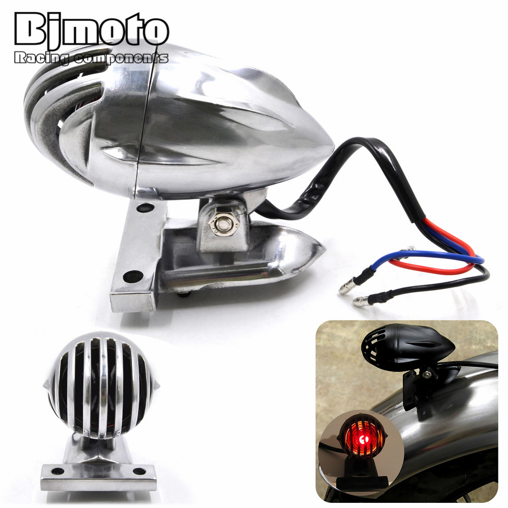 Bjmoto For Harley Bobber Choppers Custom Bike Taillight Vintage Motorcycle License Plate Mount Grille Bullet Tail Brake Light side axle mount vertical motorcycle license plate holder bracket tail light for harley yamaha honda bobber chopper custom
