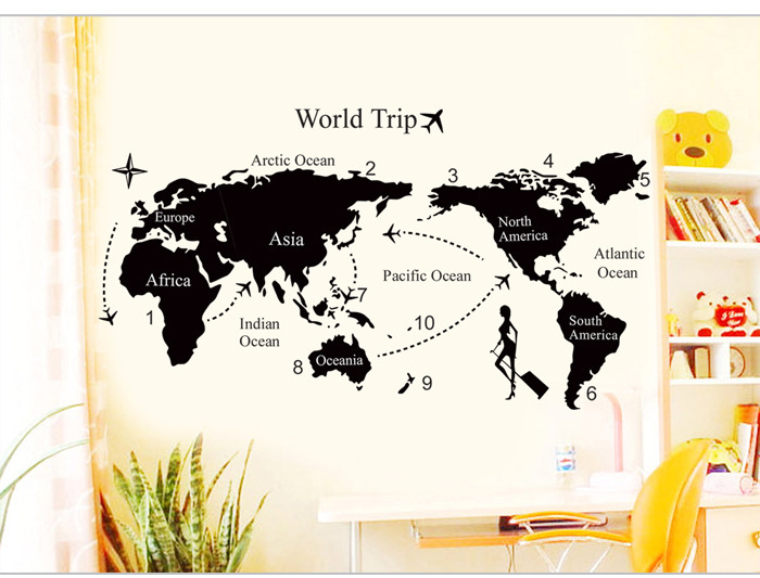 Creative large world trip wall stickers original world creative large world trip wall stickers original world map wall art bedroom home decorations wall decals gumiabroncs Images