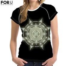 FORUDESIGNS Cartoon Magic Array Print T-Shirt for Women Girl Circle Short Sleeve Tee Tops Female Casual Summer футболка