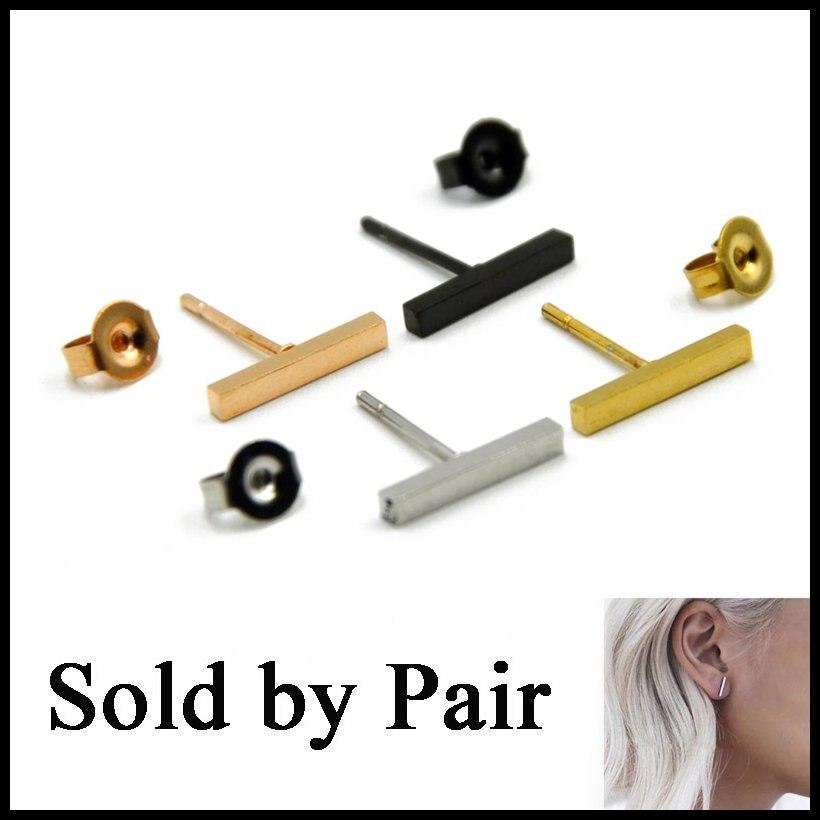 New Arrival Pair Stainless Steel Punk Earring Simple T Bar Earring Women Men Ear Stud Earring Fashion Jewelry 20g