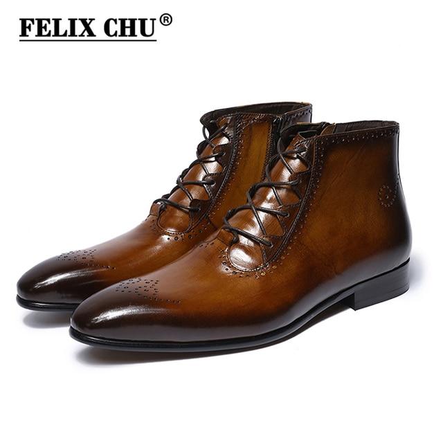 FELIX CHU 2018 Projektowania Mody Prawdziwej Skóry Mężczyźni Botki buty Wysokiej Góry Zip Koronki Up Dress Buty Czarny Brązowy Man podstawowe Buty