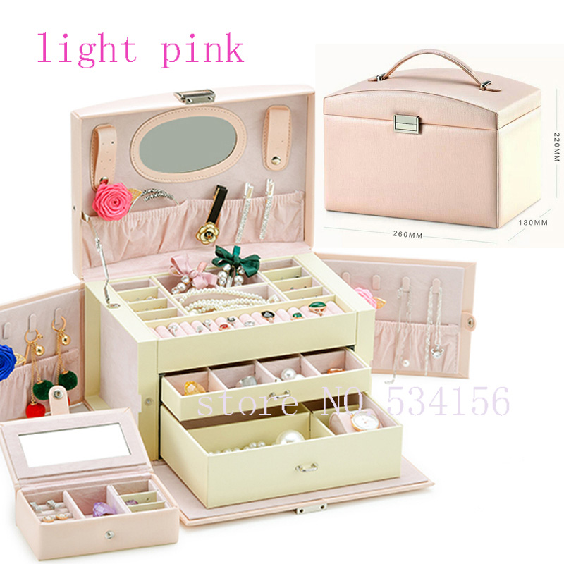 Free shipping luxury Practical leather jewelry box casket earrings necklace pendant jewelry display gift packaging box цена