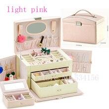 Envío gratis Práctico joyero de cuero de lujo ataúd collar colgante pendientes de exhibición de la joyería caja de embalaje de regalo
