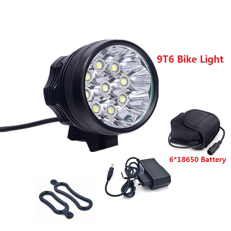 все цены на Bicycle front Light 9x XM-L T6 LED Bike Headlight 12000lm Rechargeable 18650 Battery Mountain Bike Lamp +Charger+Headband онлайн