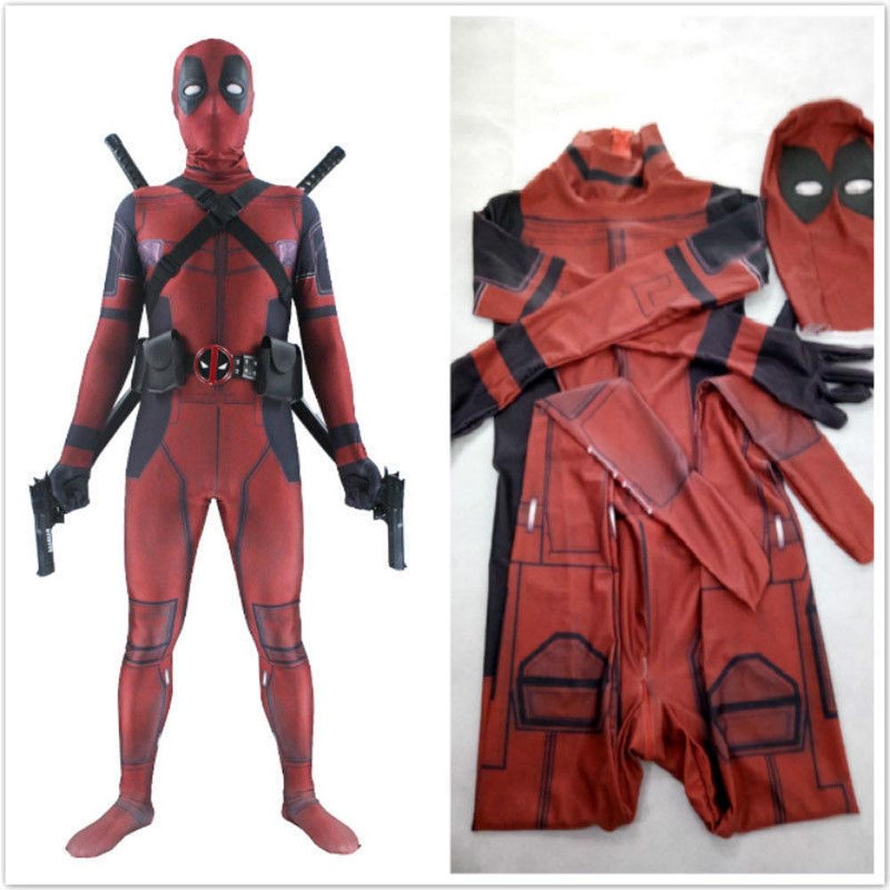 Marvel Deadpool Cosplay  Full Body Costume Man Halloween Cosplay Marvel Adult Wade Wilson Spandex Lycra Nylon Zentai Bodysuit