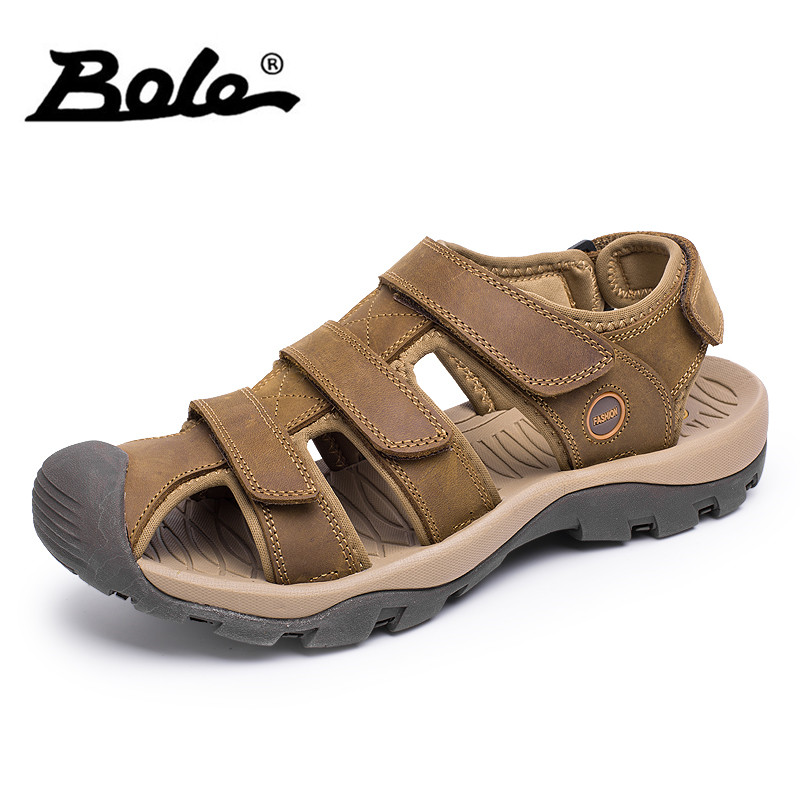 BOLE Large Size 38-46 Summer Leather Sandals High Quality Breathable Beach Sandals for Men Fashion Round Toe Casual Shoes