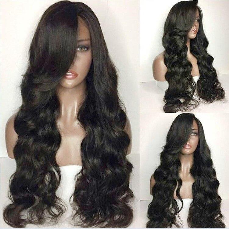 Sunnymay полный шнурок человеческие волосы парики распущенные волосы волна Малайзии полные парики шнурка с ребенком волос для черных Для женщи...