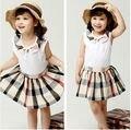 Venta al por mayor estilo niñas sin mangas del chaleco + falda a cuadros niños chicas Casual 2 unid Set trajes Twinset