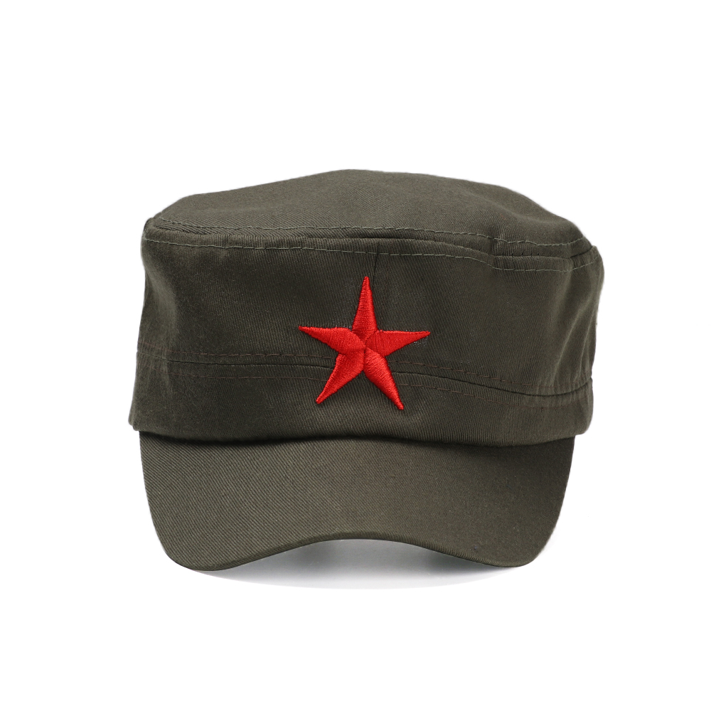 Hot Military Cap Red Star Embroidery Cap Military Hat Army Green Flat Hats For Men Women Vintage Bone Male Female Army Sun Hat