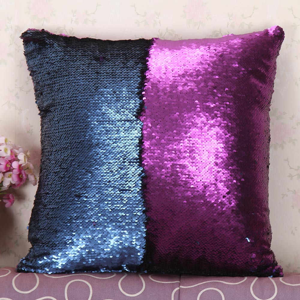 DIY Two Tone Glitter Cushion Cover Sequins Throw Pillow Home Decoration Sofa Decorative Pillowcase 45*45cm