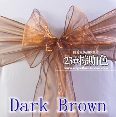 Dark Brown Color Organza Sash Chair Sash Crystal Sash Wedding Party Hotel Show Decoration Shimmer Shiny Bow Tie Chair Band