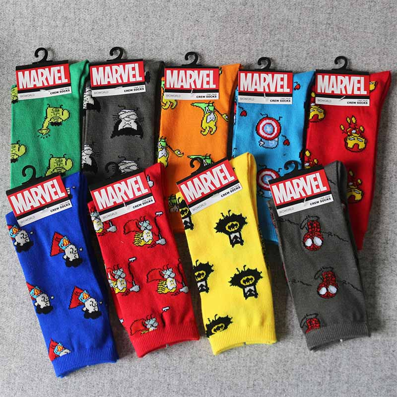 Men Sock Marvel Comics Stitching-Pattern Captain-America Cartoon-Iron Warm Knee-High title=