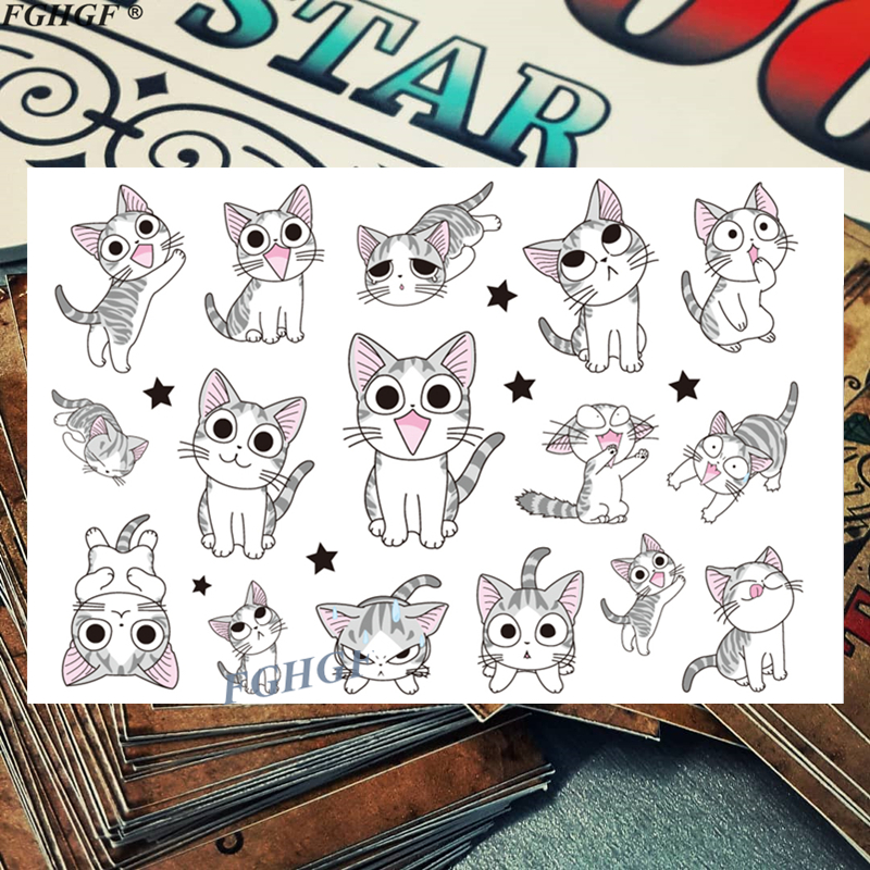 Cartoon Cute White CAT Child Temporary Body Art Flash Tattoo Sticker 17*10cm Waterproof Painless Tattoo Free Shipping