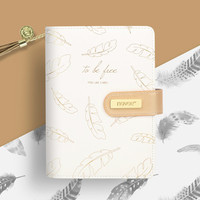 Feather Gold Stamping Hand Book Loose Leaf Notebook gift box Diy Notebook Plan Agenda Planner Organizer Appointment Book Filofax