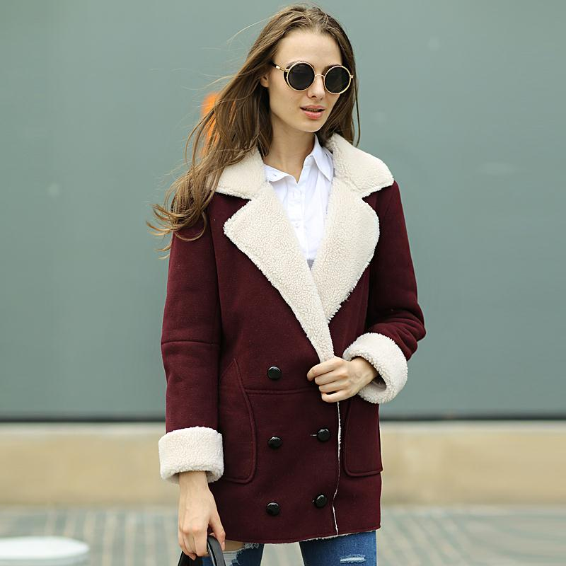 British Style Winter Suede Jackets Fur Lining Long Coat Double Breasted Designer Shearling Coats Warm Women Large Size Top