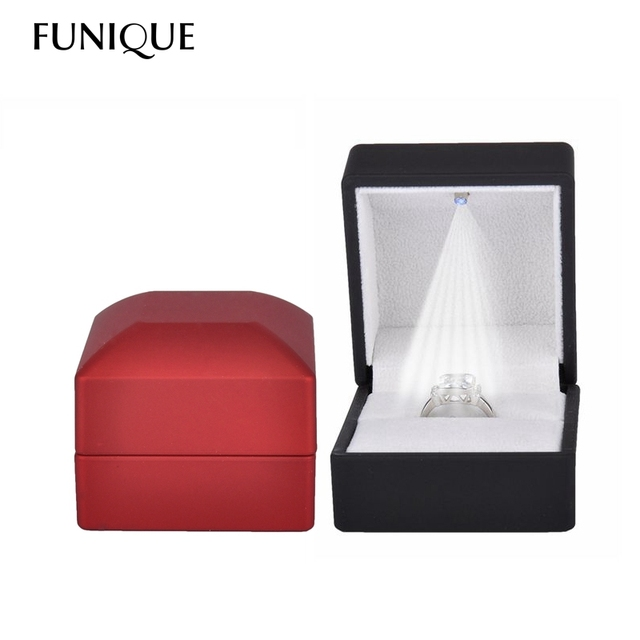 FUNIQUE Square Rubber Painted LED Light Jewelry Box Ring Box Case