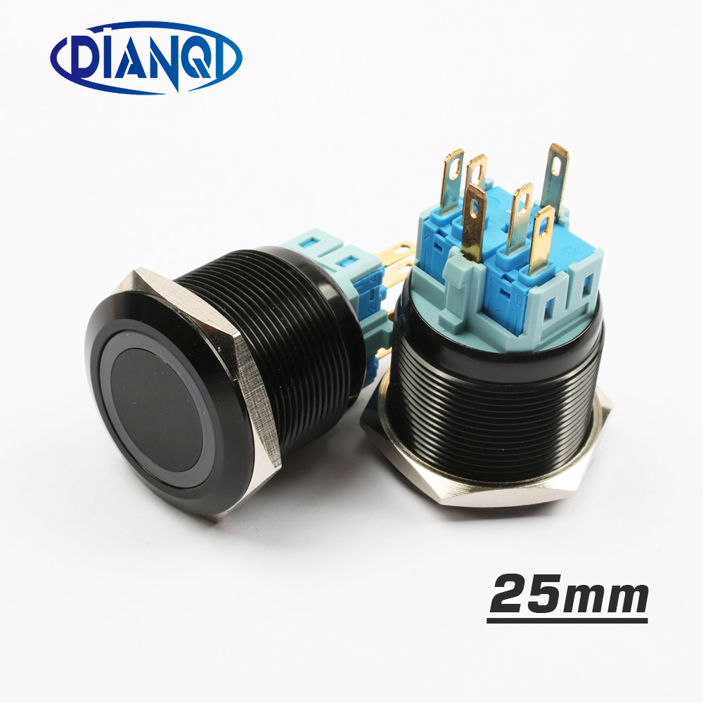 цена на 25mm Alumina metal push button switch led ring round momentary 6 pin car switches 12V 24V Yellow Blue