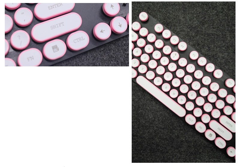 ABS USB Wired Typewriter Steam Punk Style Keyboard With Round Glowing Keycaps For PC Laptop 6