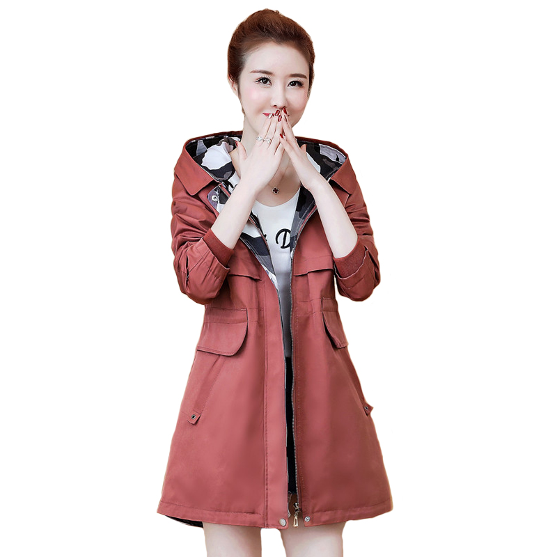 High quality   Trench   Coat Women Spring Autumn Medium length Hooded Windbreaker Students Casual Tops Plus size   Trench   Coat A2522