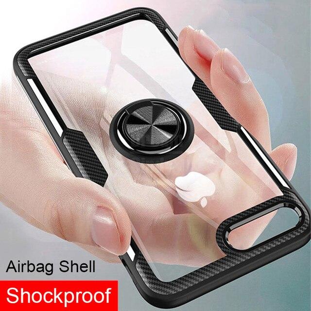 Funda de silicona suave de lujo para IPhone 8 6 6 s 7 Plus funda de anillo de soporte de coche para IPhone funda de teléfono a prueba de golpes X XR XS Max